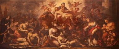 Padua - Pieta och plågan i Padua från 15 cent vid Guido Cirello (1633 - 1709) i kyrkliga chiesadi Santa Maria del Torresino Royaltyfria Foton