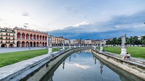 Padua, Prato della Valle square, cityscape timelapse at sunset. day to night stock video footage