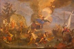 Padua -  The saints Cosma and Damiano saved by angels by Antonio Balestra 1718 in the Basilica di Santa Giustina Stock Photo
