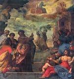 Padua - smärta av plats, som profeten Elijah stiger till himmel i en triumfvagncfbrand och Elisha i kyrkliga Basilika del Carmine Royaltyfri Bild