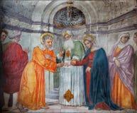PADUA WŁOCHY, WRZESIEŃ, - 8, 2014: Espousals maryja dziewica Joseph w kościelnym San Francesco Del Grande i st zdjęcia stock