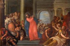 PADUA WŁOCHY, WRZESIEŃ, - 10, 2014: Farba Jezus Czyści Świątynną scenę w kościelnym Chiesa Di San Gaetano Fotografia Stock