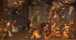 Padua - wunderbar Vision der Ankündigung vorbei durch Matteo Ghidoni (1626 - 1689) in Kirche Santa Maria-dei Servi Lizenzfreies Stockbild