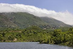Padula lake near the mountain village Oletta in the Nebbio region, Northern Corsica, France Royalty Free Stock Images