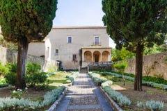 Padula Włochy, Wrzesień, - 2018: Przegląd ogród przeor San Lorenzo fotografia royalty free