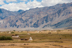 Padum village and  Zanskar mountain range. Padum village, Zanskar valley, Jammu and Kashmir, North India Stock Images