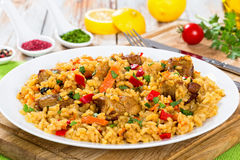 Paella με το κρέας, το πιπέρι, τα λαχανικά και τα καρυκεύματα στο πιάτο Στοκ Εικόνες