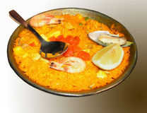 Paella. With shellfih and  shrimps Royalty Free Stock Image