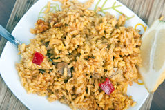 The Paella. Spanish rice photo, cenital frame Stock Photos