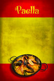 Испанский флаг с paella Стоковые Изображения