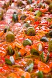 Paella. Dish of steaming hot paella royalty free stock photography