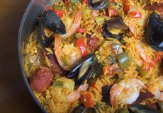 Paella. Pan of seafood paella royalty free stock photo