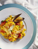 Paella. On plate with shellfish Royalty Free Stock Photo