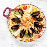 Paella avec des fruits de mer Photos libres de droits