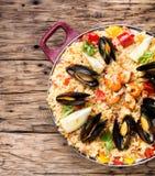 Paella avec des fruits de mer Photos stock
