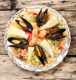 Paella avec des fruits de mer Images libres de droits