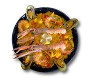 Paella avec des fruits de mer Photographie stock
