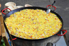 Paella in big pan Stock Photos