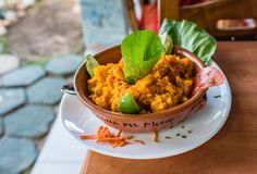 Paella In A Ceramic Bowl stock photography