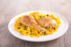 Paella with chicken royalty free stock image
