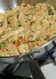 Paella with chicken and seafood Royalty Free Stock Images