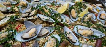 Paella cloe up, traditional Spanish dish Stock Image