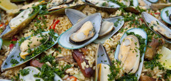 Paella close up, with mussels and rice Royalty Free Stock Photo