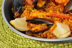 Paella in close up royalty free stock image