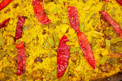 Paella closeup texture in Alicante Spain Royalty Free Stock Photography
