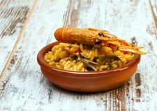 Paella com camarão Foto de Stock