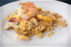 Paella com marisco Foto de Stock Royalty Free