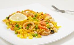 Paella con il pollo ed i frutti di mare su un piatto bianco, primo piano, vista laterale Fotografia Stock