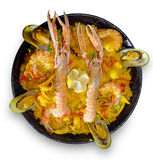 Paella con los mariscos Foto de archivo libre de regalías