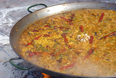 Paella cooking Stock Image