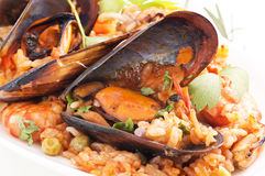 Paella de fruits de mer Photographie stock