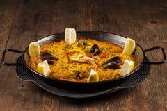 Paella de fruits de mer Photo libre de droits