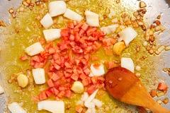 Paella de fruits de mer d'étape de friture de recette de l'Espagne Images stock