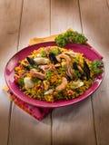 Paella de poissons de Traditonal Photographie stock libre de droits
