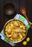 Paella de poulet Photo libre de droits