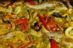 Paella dello Spagnolo dei crostacei Immagine Stock