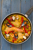 Paella on dish Stock Photos
