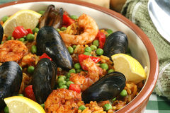 Paella dish with mussels and prawns Royalty Free Stock Photos