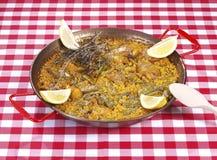 Paella in een pan Royalty-vrije Stock Foto