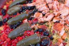 Paella en detalles en el mercado callejero Fotos de archivo libres de regalías