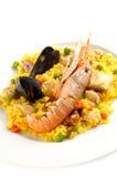 Paella español tradicional del alimento Fotografía de archivo