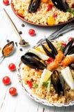 Paella espagnole avec des fruits de mer Photos libres de droits