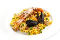 Paella espagnole traditionnelle de nourriture Photo stock