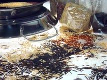 Paella et riz crus de différentes couleurs 2 Photographie stock libre de droits