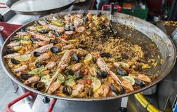 Paella on the fish market in Bergen Royalty Free Stock Photography