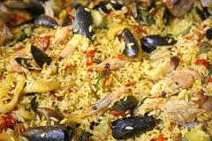 Paella fraîche de fruits de mer Photographie stock libre de droits